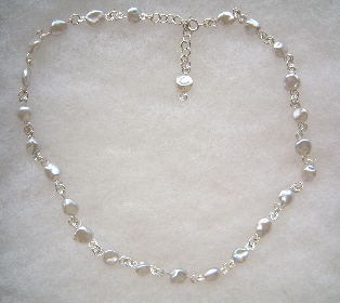 freshwater silver pearl necklace